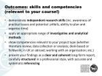 outcomes skills and competencies relevant to your course