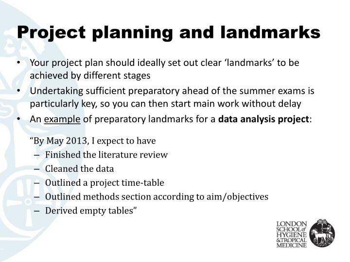 Project planning and landmarks
