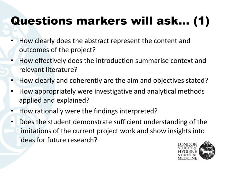 Questions markers will ask… (1)