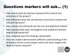 questions markers will ask 1
