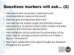questions markers will ask 2