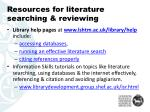 resources for literature searching reviewing