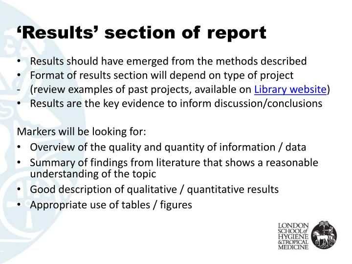 'Results' section of report