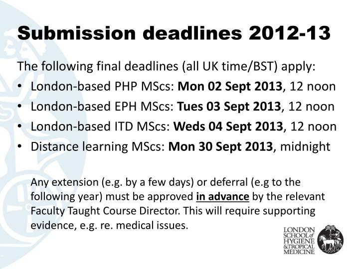 Submission deadlines 2012-13