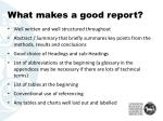 what makes a good report