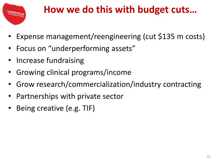How we do this with budget cuts…