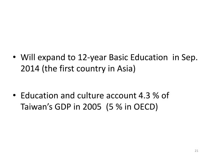 Will expand to 12-year Basic Education  in Sep. 2014 (the first country in Asia)