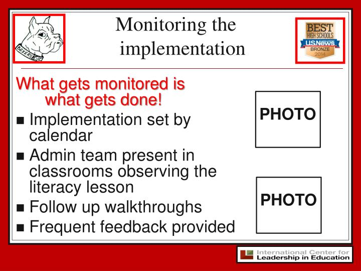 Monitoring the implementation