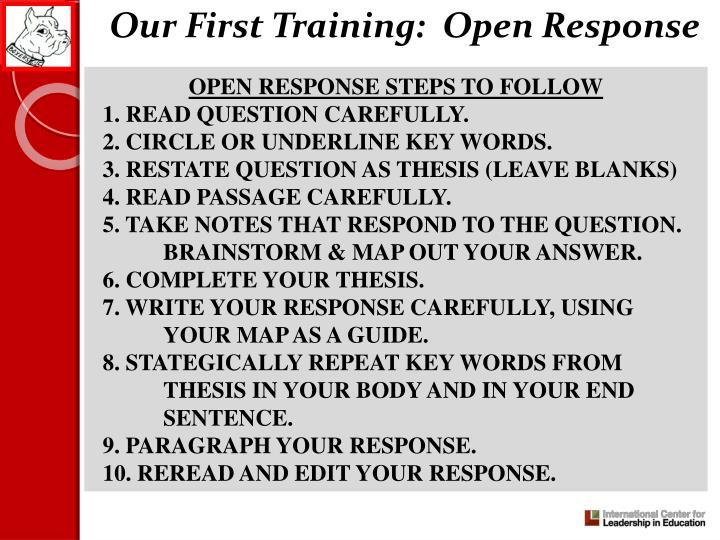 Our First Training:  Open Response
