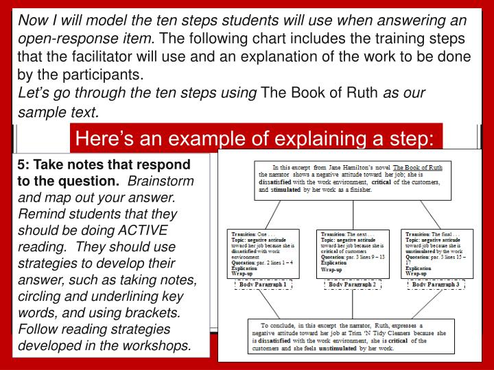 Now I will model the ten steps students will use when answering an open-response item.
