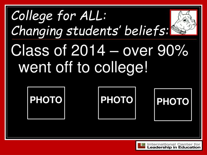 Class of 2014 – over 90% went off to college!