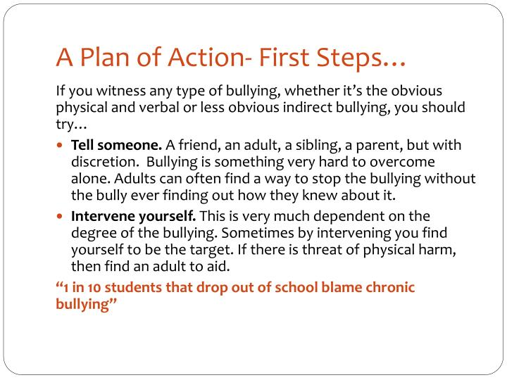 A Plan of Action- First Steps…