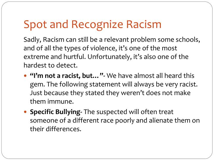 Spot and Recognize Racism