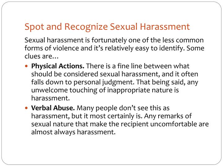 Spot and Recognize Sexual Harassment