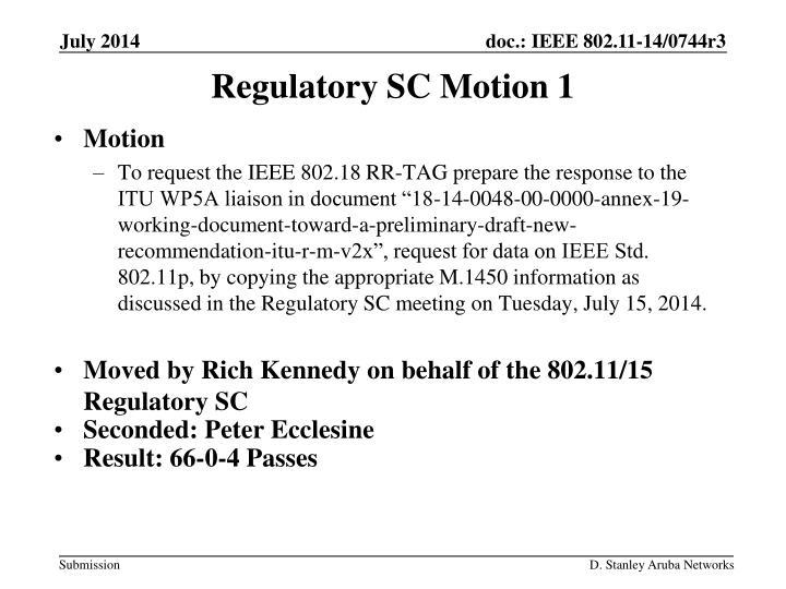 Regulatory SC Motion 1