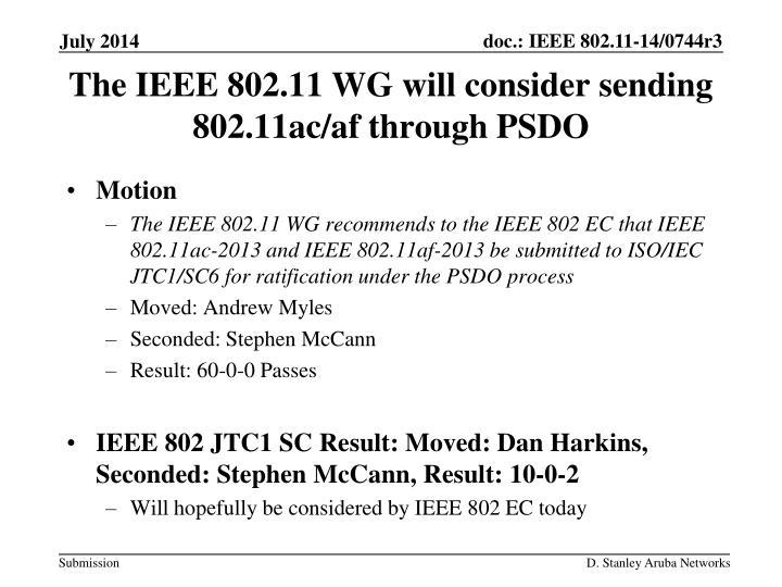 The IEEE 802.11 WG will consider sending 802.11ac/