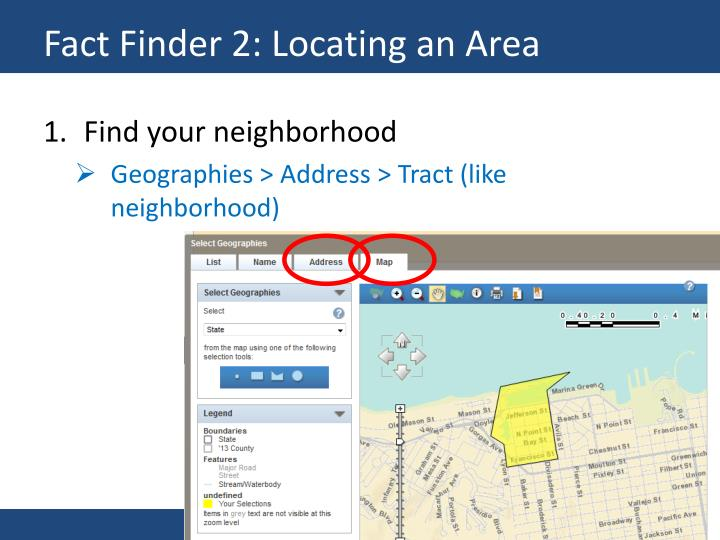 Fact Finder 2: Locating an Area