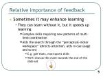relative importance of feedback2