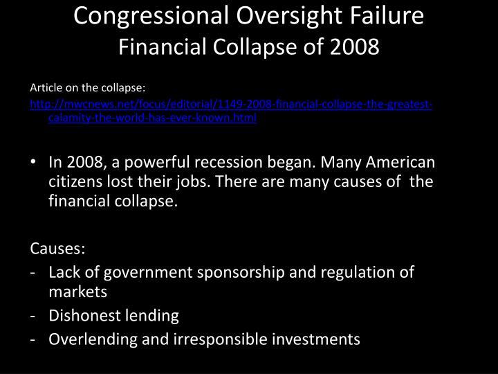 Congressional Oversight Failure