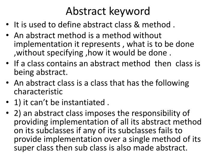 Abstract keyword