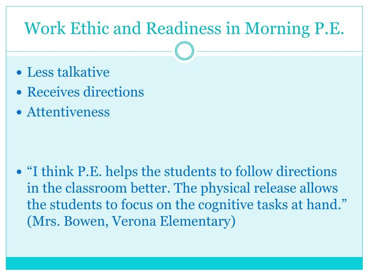 Work Ethic and Readiness in Morning P.E.