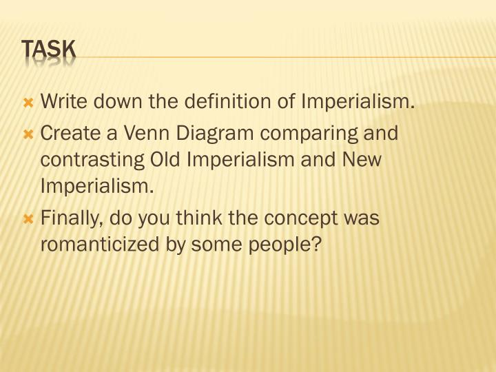 Write down the definition of Imperialism.