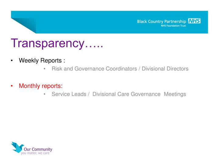 Transparency…..