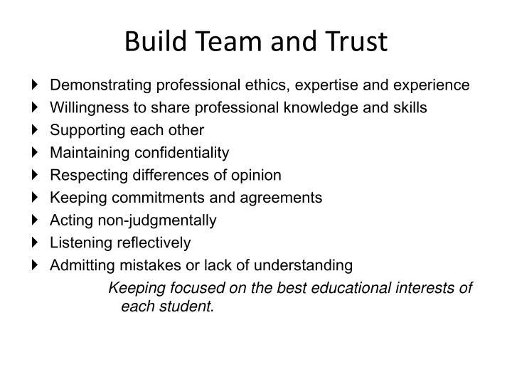 Build Team and Trust