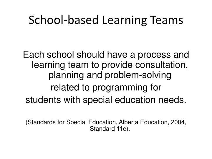 School-based Learning Teams