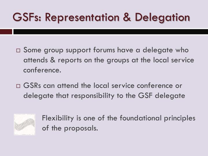 GSFs: Representation & Delegation