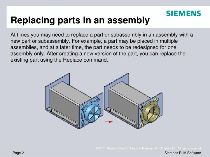 Replacing parts in an assembly