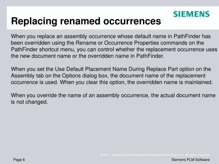 Replacing renamed occurrences