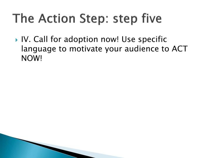 The Action Step: step five