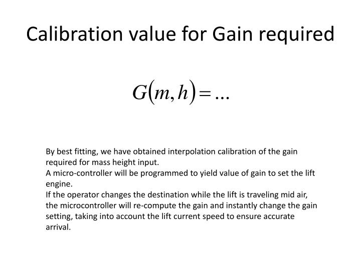 Calibration value for Gain required
