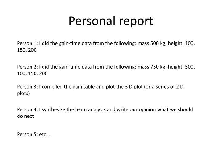 Personal report
