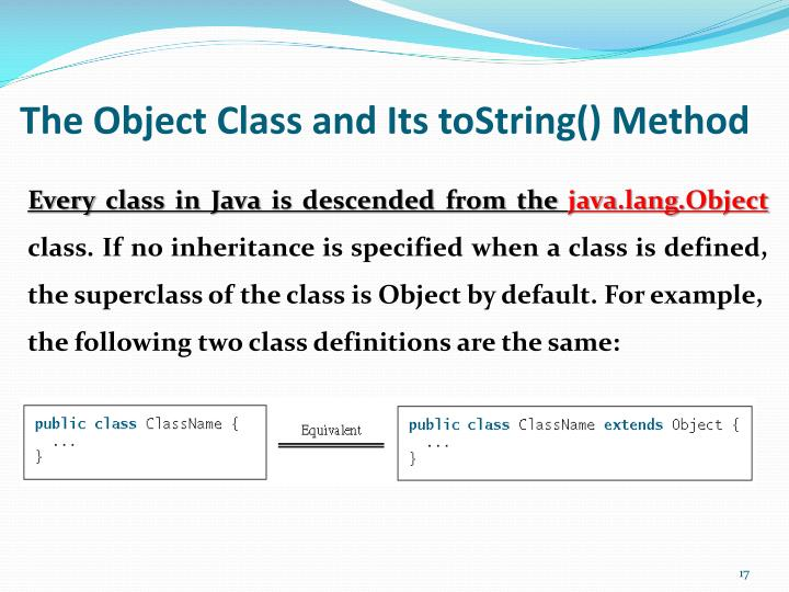 The Object Class and Its