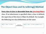 the object class and its tostring method