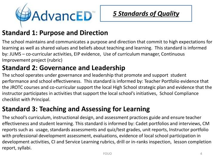 5 Standards of Quality