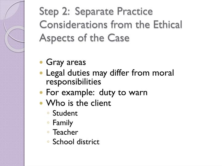 Step 2:  Separate Practice Considerations from the Ethical Aspects of the Case