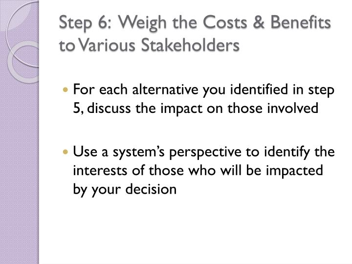 Step 6:  Weigh the Costs & Benefits to Various Stakeholders