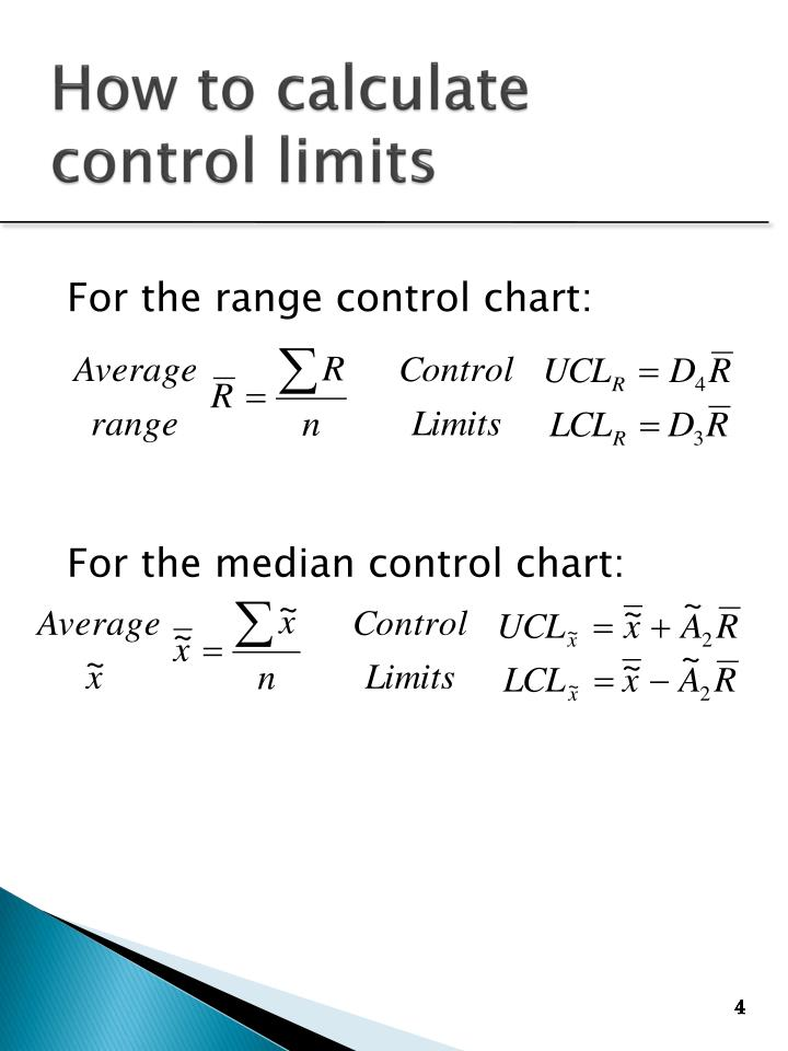 For the range control chart: