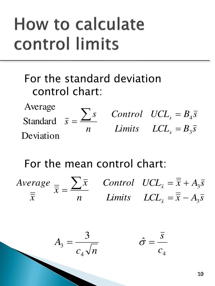 For the standard deviation control chart: