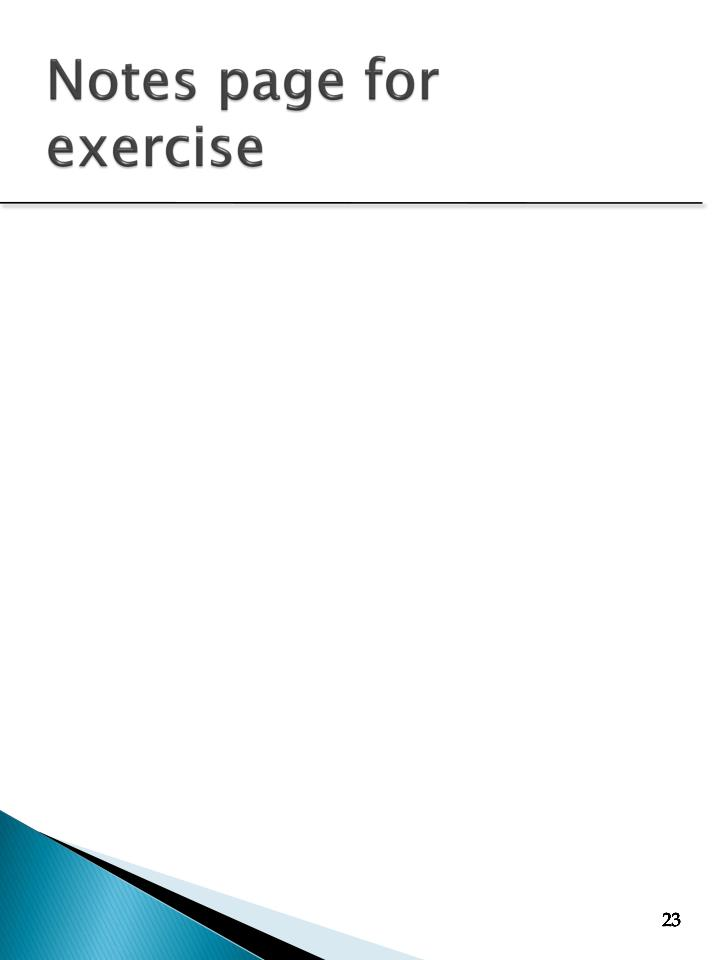 Notes page for exercise