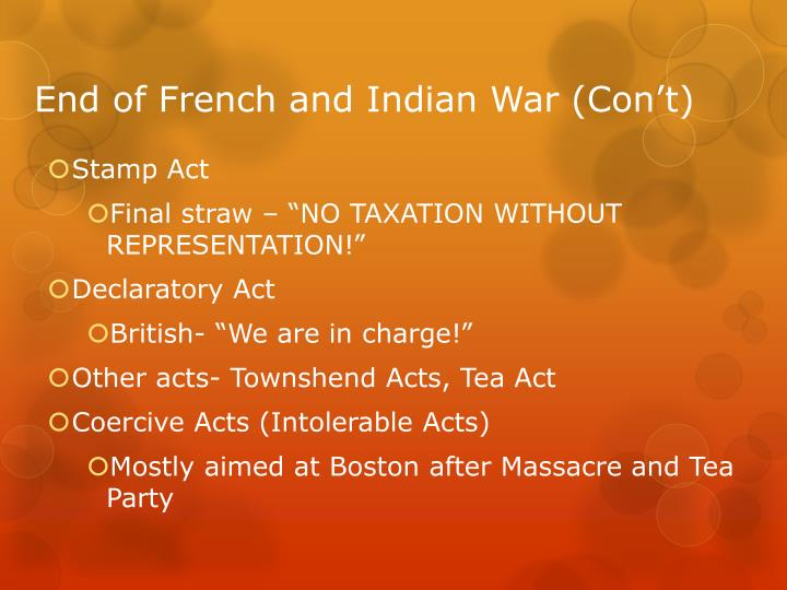 End of French and Indian War (