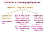 parliamentary sovereignty supremacy
