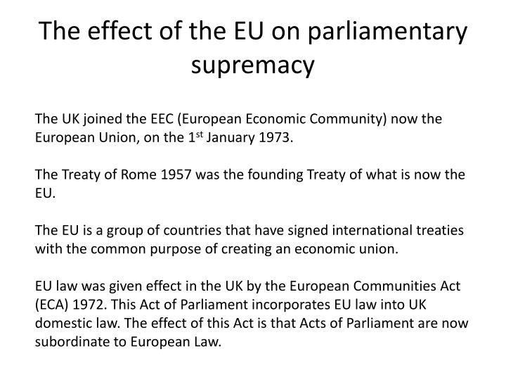 parliamentary supremacy essay