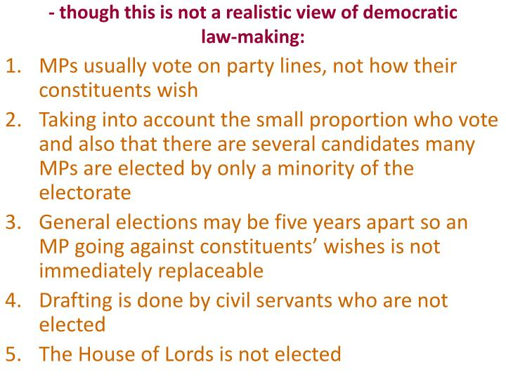 - though this is not a realistic view of democratic law-making: