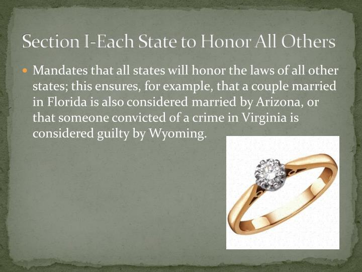 Section I-Each State to Honor All Others
