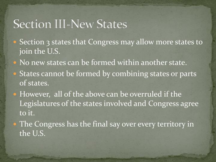 Section III-New States