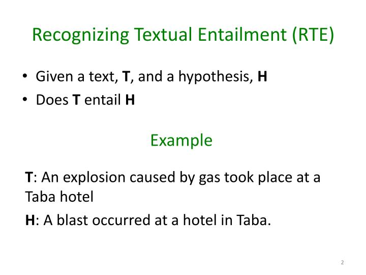Recognizing textual entailment rte